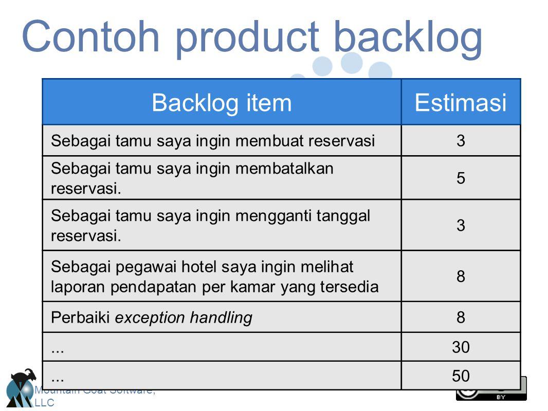 Mountain Goat Software, LLC Contoh product backlog Backlog itemEstimasi Sebagai tamu saya ingin membuat reservasi3 Sebagai tamu saya ingin membatalkan reservasi.