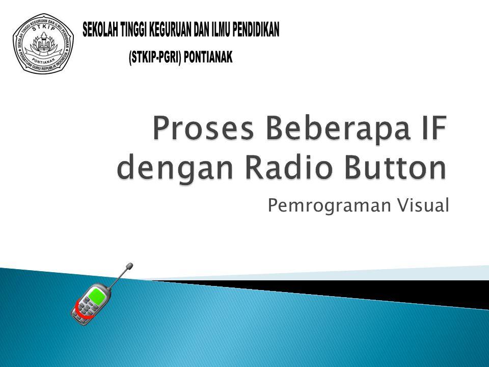procedure TForm1.Button1Click(Sender: TObject); var jlh,disc,bersih: real; begin if RadioButton1.Checked=true then begin jlh:=strtofloat(ejlh.Text); disc:=0.05*jlh; edisc.Text:=floattostr(disc) end else