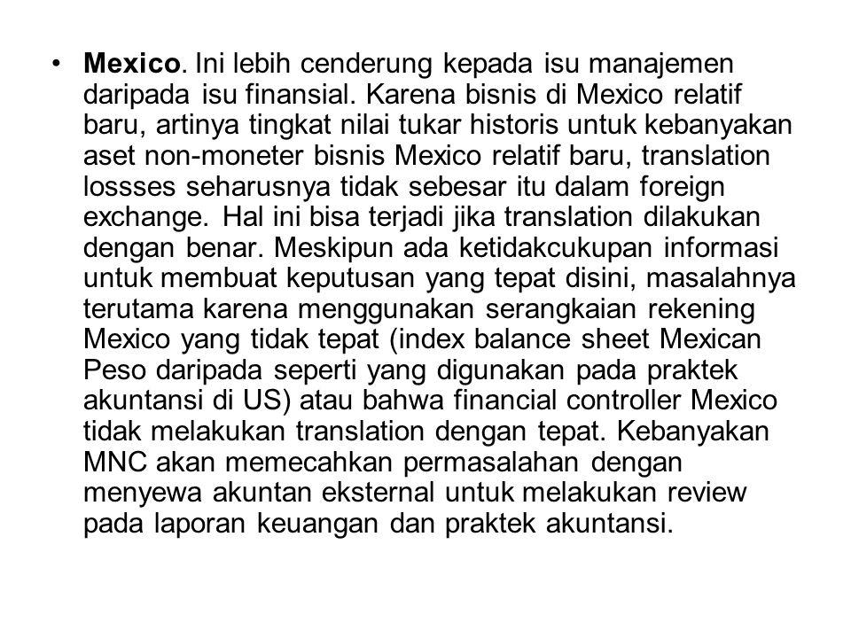 Mexico. Ini lebih cenderung kepada isu manajemen daripada isu finansial. Karena bisnis di Mexico relatif baru, artinya tingkat nilai tukar historis un
