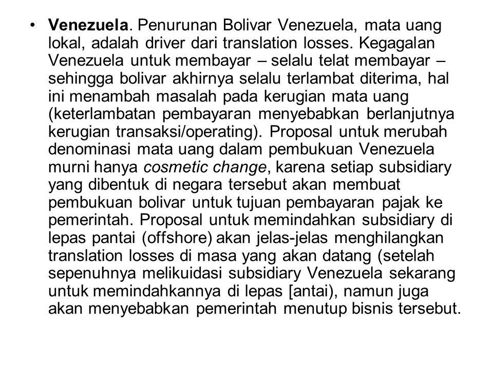 Venezuela. Penurunan Bolivar Venezuela, mata uang lokal, adalah driver dari translation losses. Kegagalan Venezuela untuk membayar – selalu telat memb