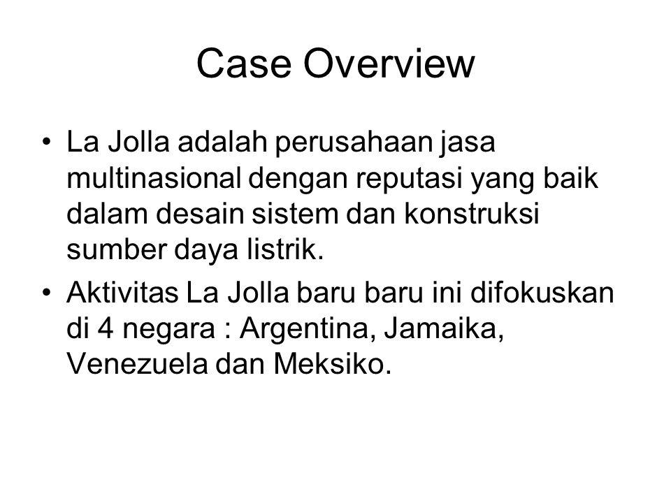 Case Overview La Jolla adalah perusahaan jasa multinasional dengan reputasi yang baik dalam desain sistem dan konstruksi sumber daya listrik. Aktivita