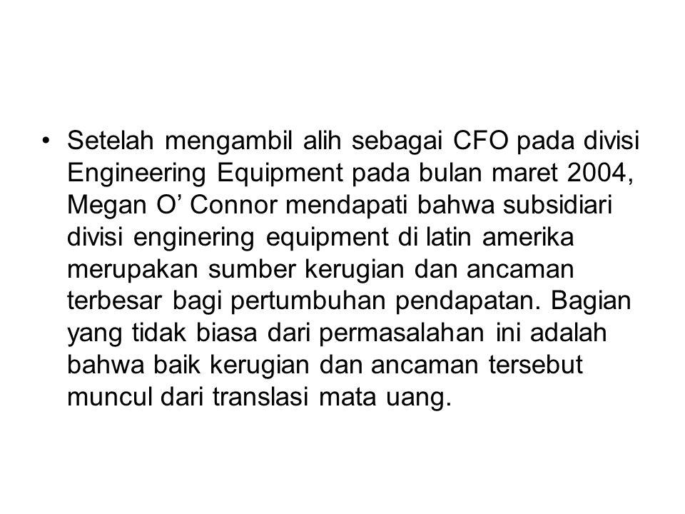 Setelah mengambil alih sebagai CFO pada divisi Engineering Equipment pada bulan maret 2004, Megan O' Connor mendapati bahwa subsidiari divisi engineri