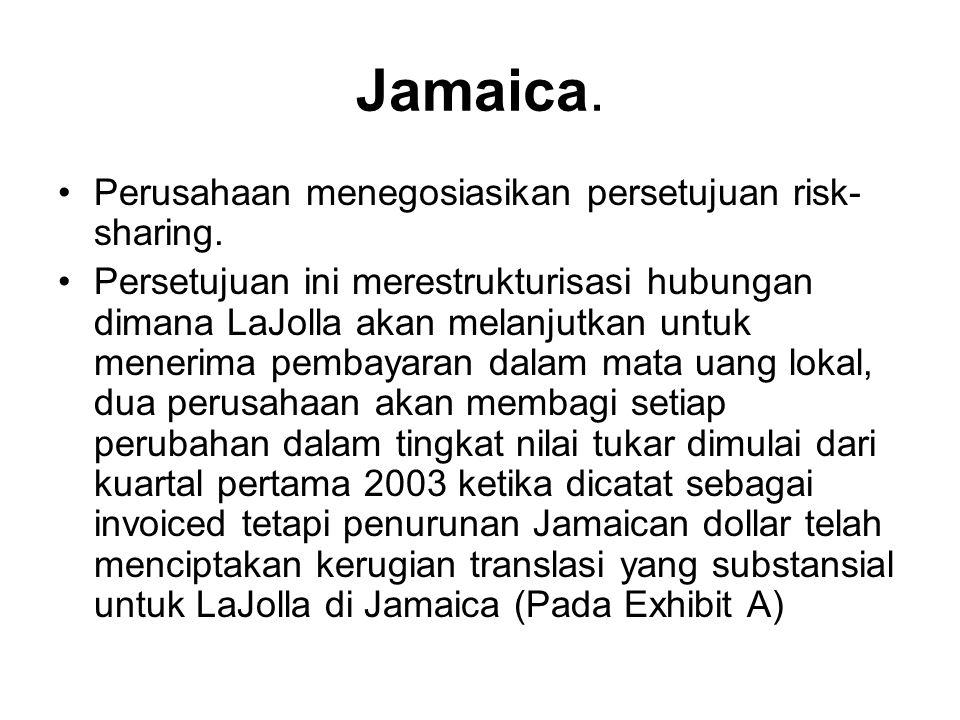 Jamaica. Perusahaan menegosiasikan persetujuan risk- sharing. Persetujuan ini merestrukturisasi hubungan dimana LaJolla akan melanjutkan untuk menerim