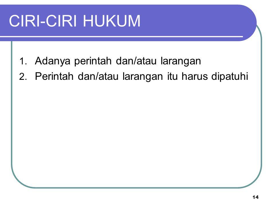 CIRI-CIRI HUKUM 1. Adanya perintah dan/atau larangan 2.