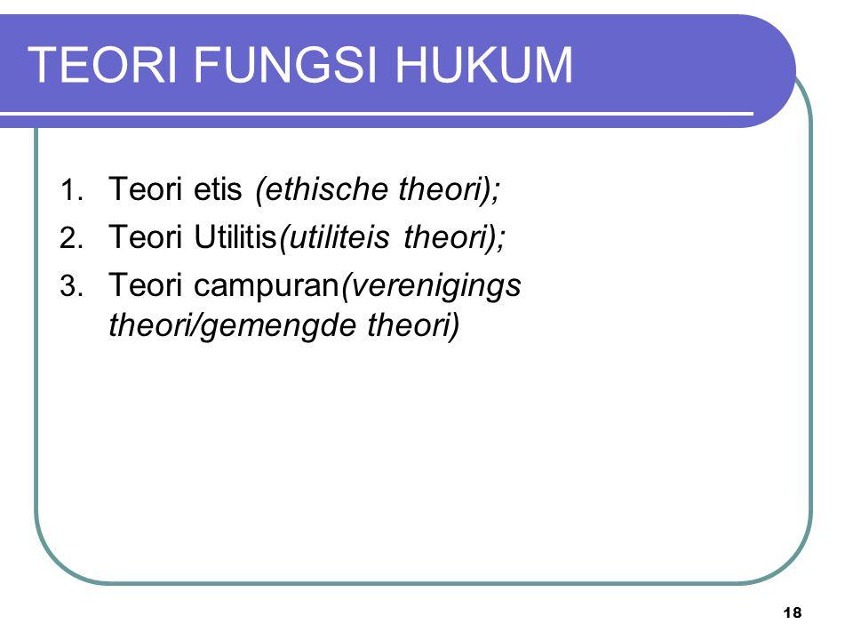 TEORI FUNGSI HUKUM 1. Teori etis (ethische theori); 2.