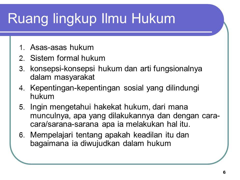 Ruang lingkup Ilmu Hukum 1. Asas-asas hukum 2. Sistem formal hukum 3.