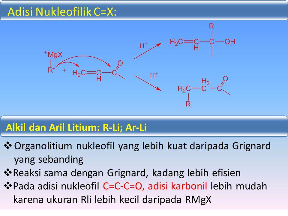 Alkil dan Aril Litium: R-Li; Ar-Li  Organolitium nukleofil yang lebih kuat daripada Grignard yang sebanding  Reaksi sama dengan Grignard, kadang leb