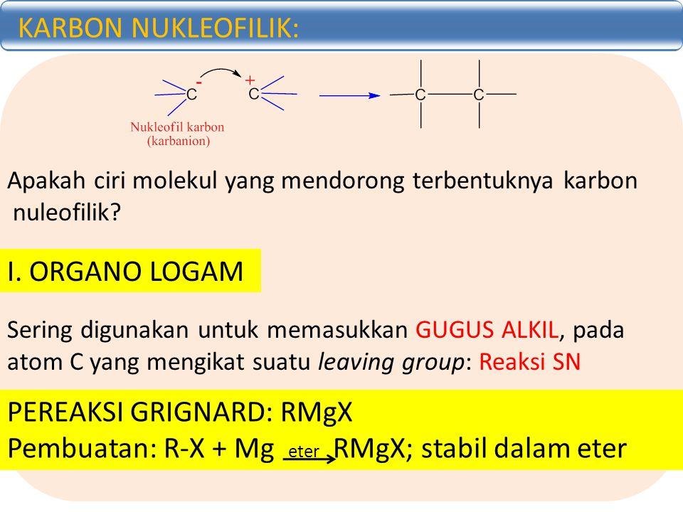 KARBON NUKLEOFILIK: Apakah ciri molekul yang mendorong terbentuknya karbon nuleofilik? I. ORGANO LOGAM Sering digunakan untuk memasukkan GUGUS ALKIL,