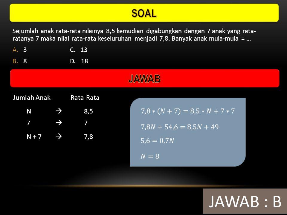 Jika rata-rata pada tabel tersebut adalah 6,10, maka nilai x = … A.3C. 6 B.4D. 8 JAWAB : D Nilai45678 Frekuensi262x2 
