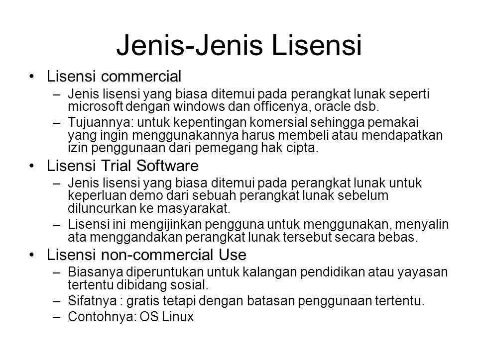Jenis-Jenis Lisensi Lisensi commercial –Jenis lisensi yang biasa ditemui pada perangkat lunak seperti microsoft dengan windows dan officenya, oracle d