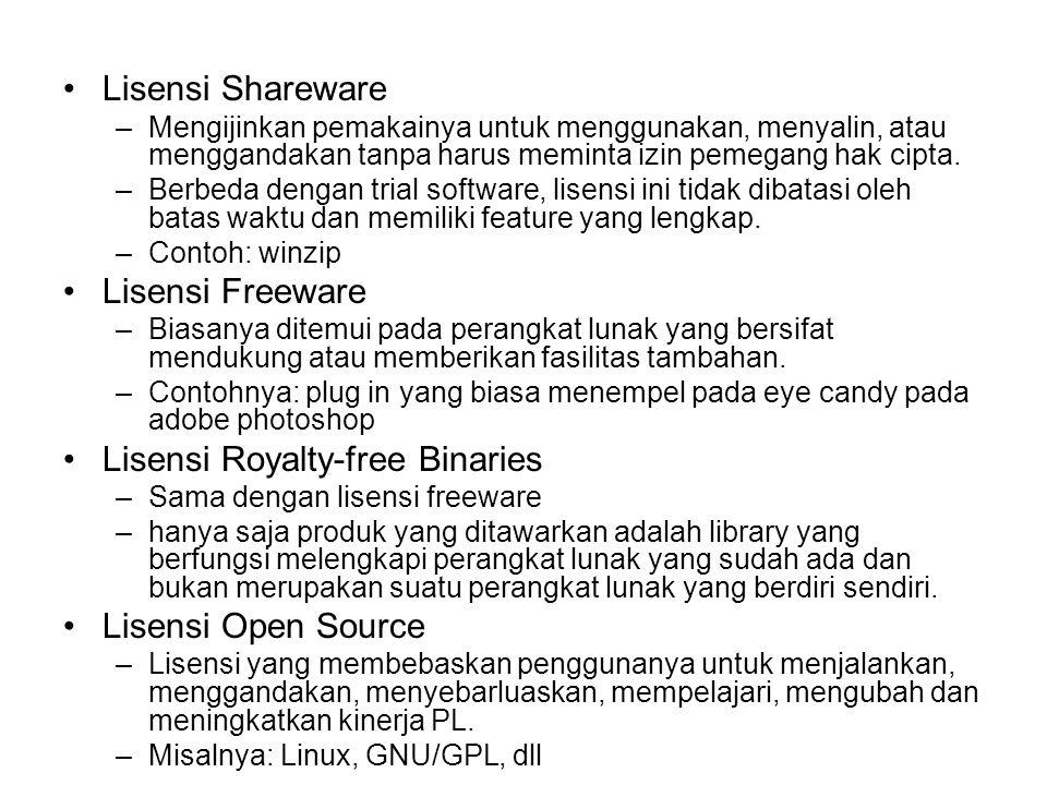 Lisensi Shareware –Mengijinkan pemakainya untuk menggunakan, menyalin, atau menggandakan tanpa harus meminta izin pemegang hak cipta. –Berbeda dengan