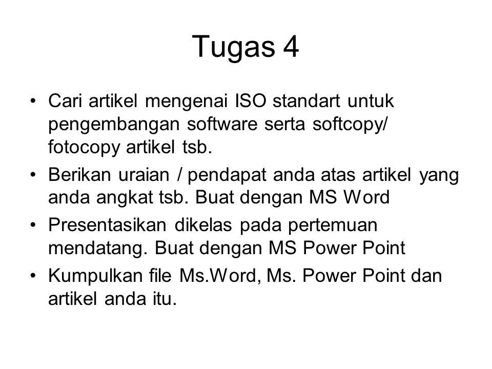 Tugas 4 Cari artikel mengenai ISO standart untuk pengembangan software serta softcopy/ fotocopy artikel tsb. Berikan uraian / pendapat anda atas artik