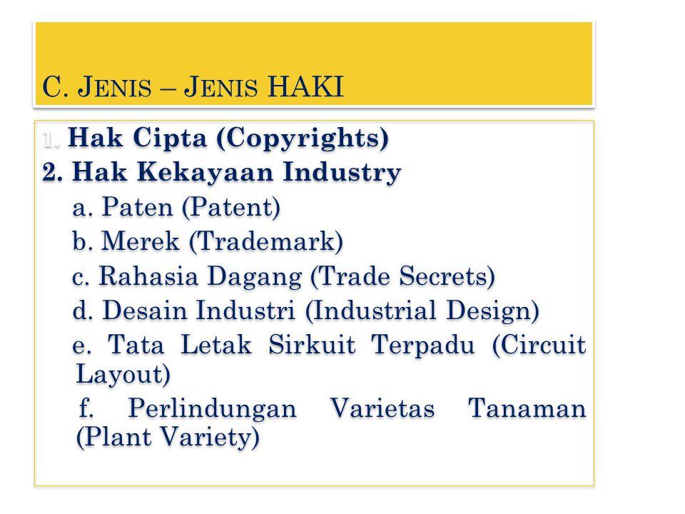 C. J ENIS – J ENIS HAKI 1. Hak Cipta (Copyrights) 2. Hak Kekayaan Industry a. Paten (Patent) b. Merek (Trademark) c. Rahasia Dagang (Trade Secrets) d.