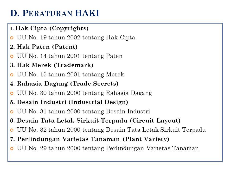 D. P ERATURAN HAKI 1. Hak Cipta (Copyrights) UU No. 19 tahun 2002 tentang Hak Cipta 2. Hak Paten (Patent) UU No. 14 tahun 2001 tentang Paten 3. Hak Me