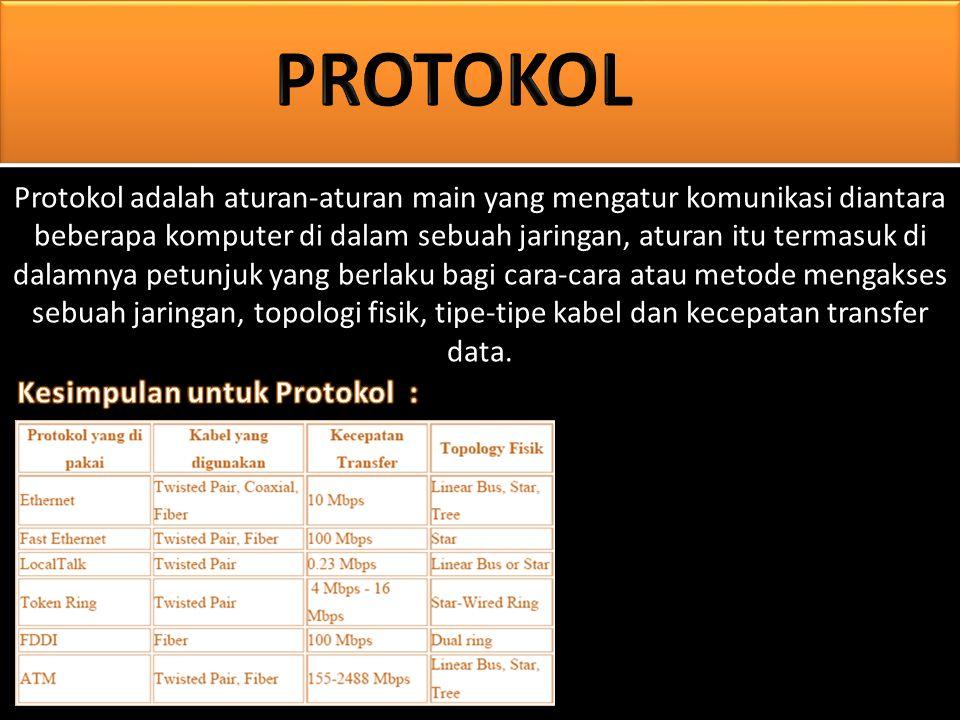 Protokol adalah aturan-aturan main yang mengatur komunikasi diantara beberapa komputer di dalam sebuah jaringan, aturan itu termasuk di dalamnya petunjuk yang berlaku bagi cara-cara atau metode mengakses sebuah jaringan, topologi fisik, tipe-tipe kabel dan kecepatan transfer data.
