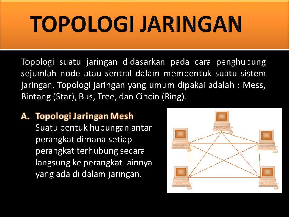 Topologi suatu jaringan didasarkan pada cara penghubung sejumlah node atau sentral dalam membentuk suatu sistem jaringan.