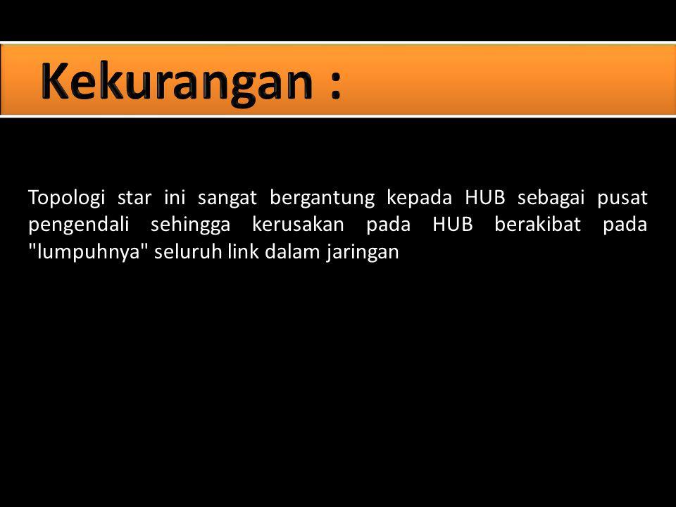 Topologi star ini sangat bergantung kepada HUB sebagai pusat pengendali sehingga kerusakan pada HUB berakibat pada lumpuhnya seluruh link dalam jaringan