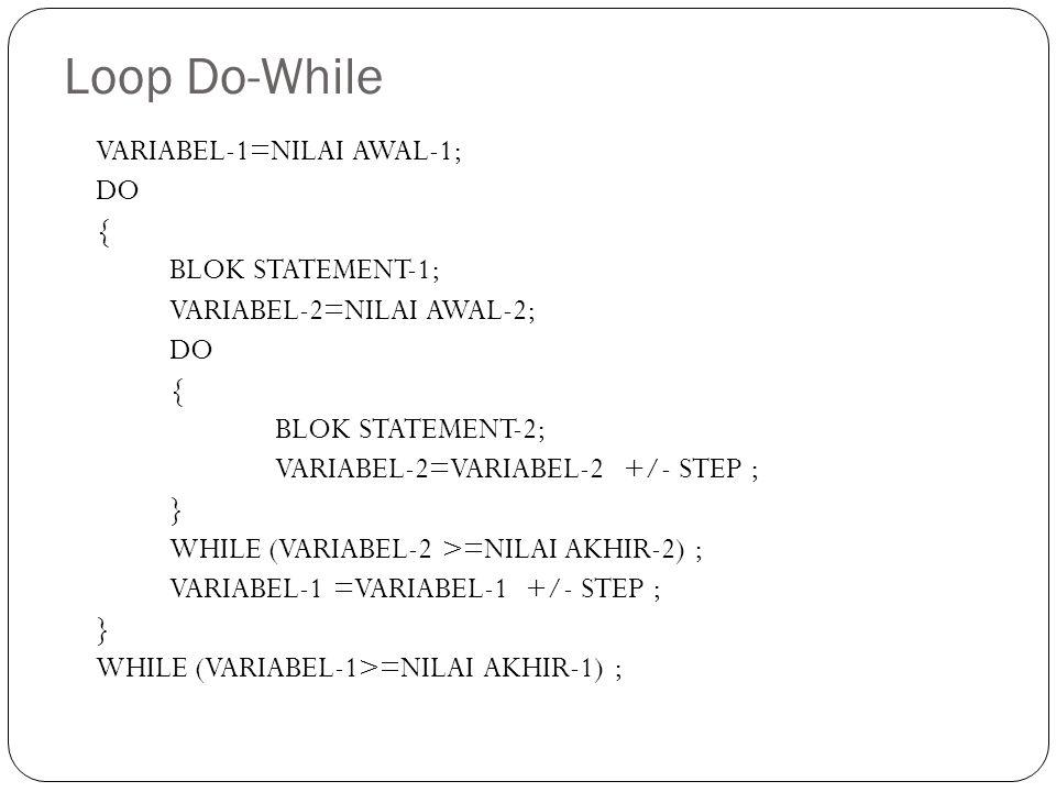 Loop Do-While VARIABEL-1=NILAI AWAL-1; DO { BLOK STATEMENT-1; VARIABEL-2=NILAI AWAL-2; DO { BLOK STATEMENT-2; VARIABEL-2=VARIABEL-2 +/- STEP ; } WHILE