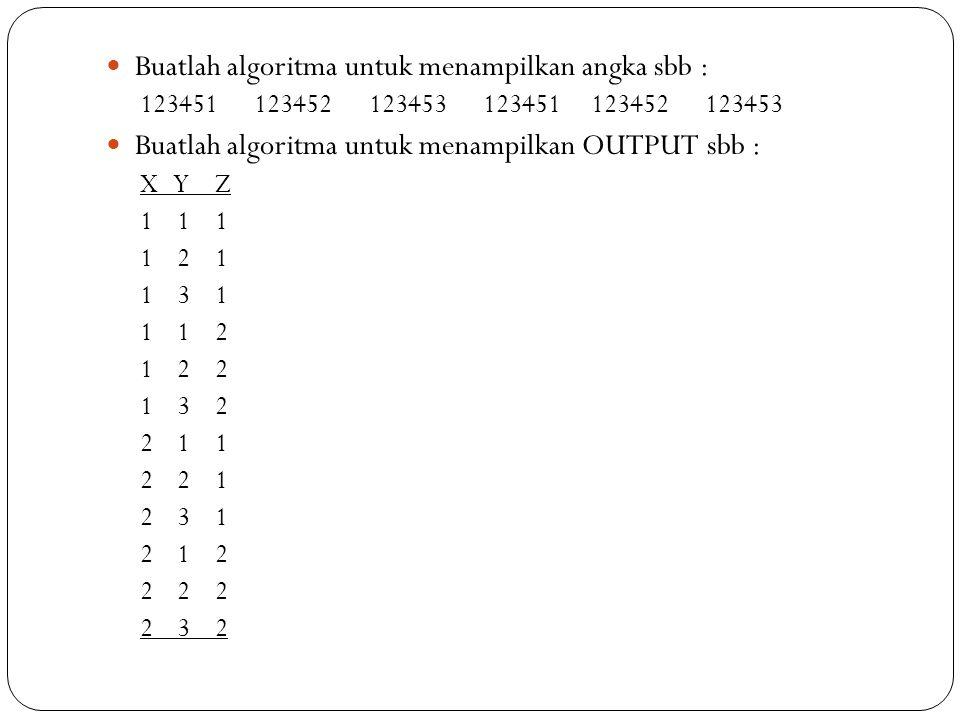 Buatlah algoritma untuk menampilkan angka sbb : 123451 123452 123453 Buatlah algoritma untuk menampilkan OUTPUT sbb : X Y Z 1 1 1 1 2 1 1 3 1 1 1 2 1