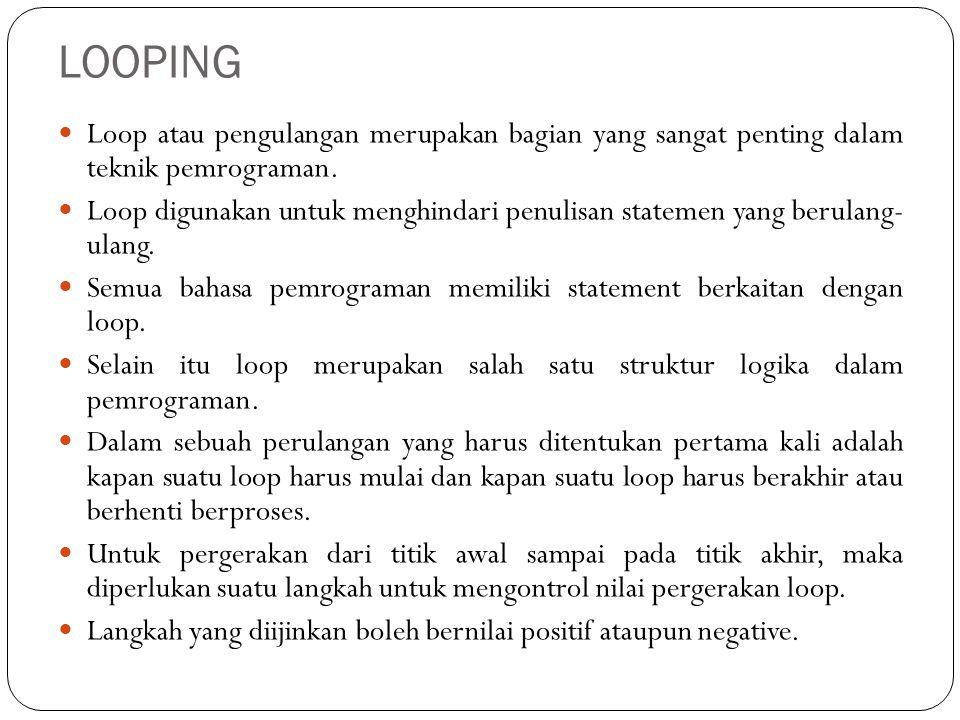 LOOPING Loop atau pengulangan merupakan bagian yang sangat penting dalam teknik pemrograman. Loop digunakan untuk menghindari penulisan statemen yang