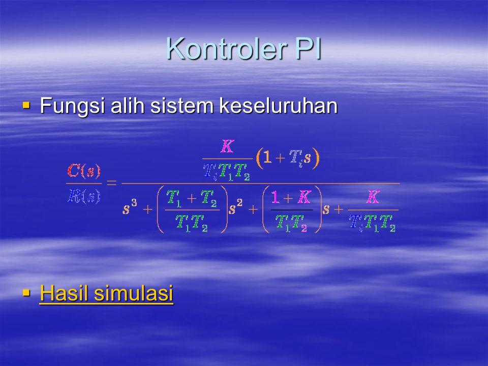 Kontroler PI  Fungsi alih sistem keseluruhan  Hasil simulasi Hasil simulasi Hasil simulasi