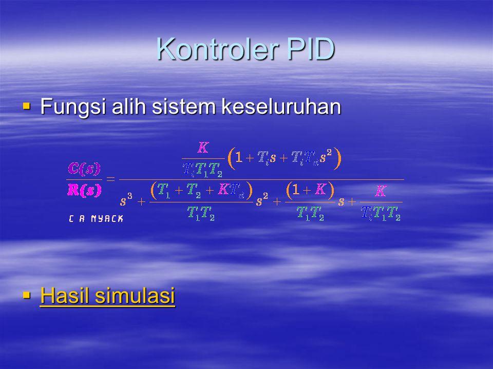 Kontroler PID  Fungsi alih sistem keseluruhan  Hasil simulasi Hasil simulasi Hasil simulasi
