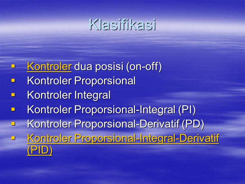 Kontroler On-off  Hanya ada dua nilai, yaitu on dan off  Ada 2 macam: –Kontroler on-off –Kontroler on-off hysterisis  Contoh: –Pengendali level tangki –Pengendali lampu