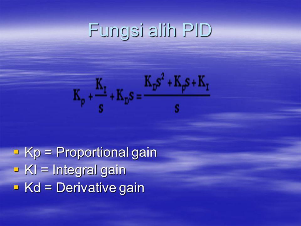 Fungsi alih PID  Kp = Proportional gain  KI = Integral gain  Kd = Derivative gain