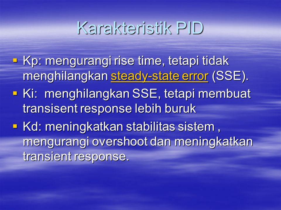 Karakteristik PID  Kp: mengurangi rise time, tetapi tidak menghilangkan steady-state error (SSE). steady-state errorsteady-state error  Ki: menghila