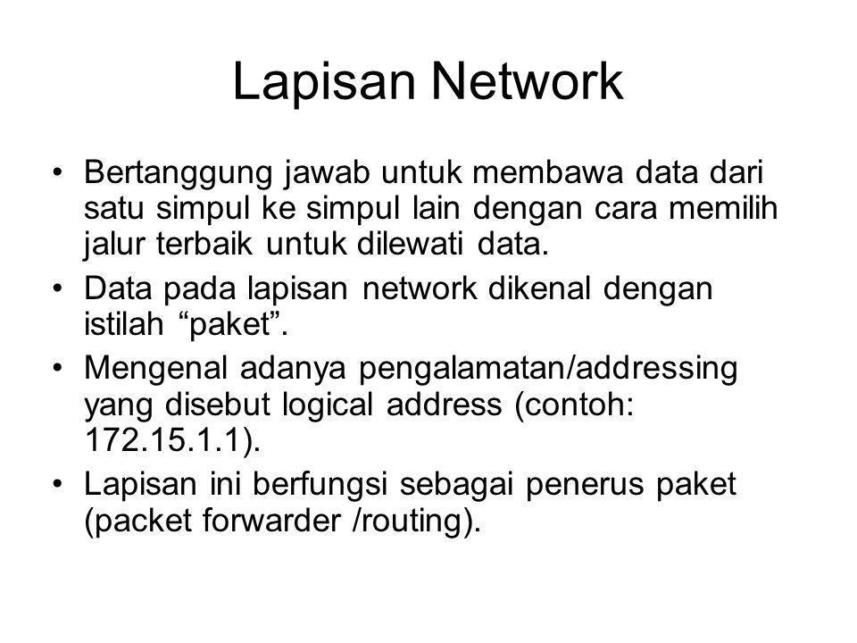 Lapisan Network Bertanggung jawab untuk membawa data dari satu simpul ke simpul lain dengan cara memilih jalur terbaik untuk dilewati data. Data pada