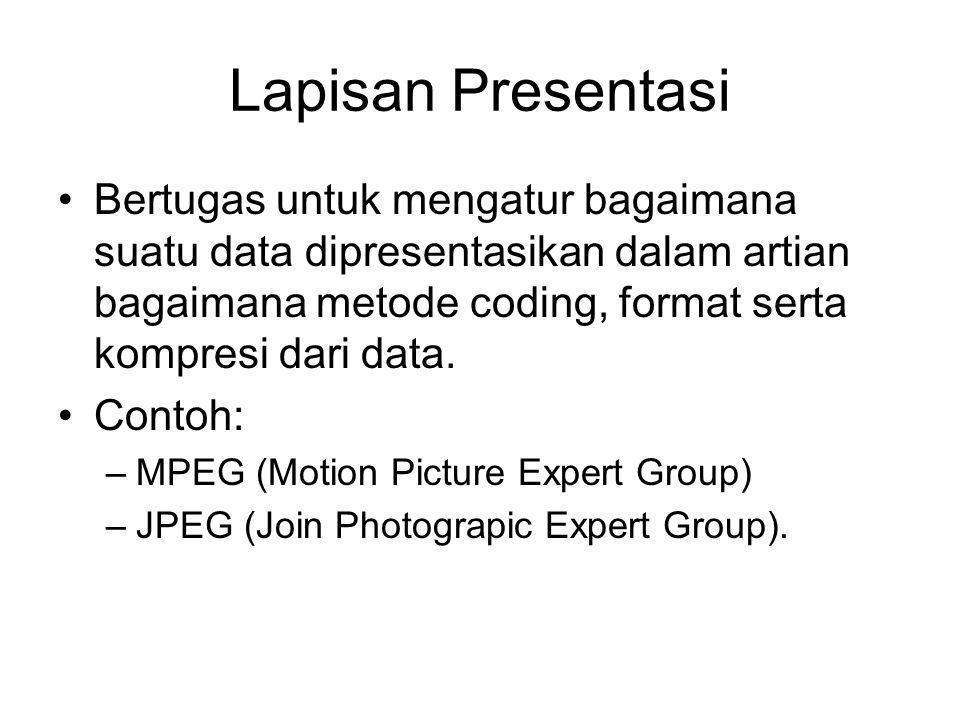 Lapisan Presentasi Bertugas untuk mengatur bagaimana suatu data dipresentasikan dalam artian bagaimana metode coding, format serta kompresi dari data.