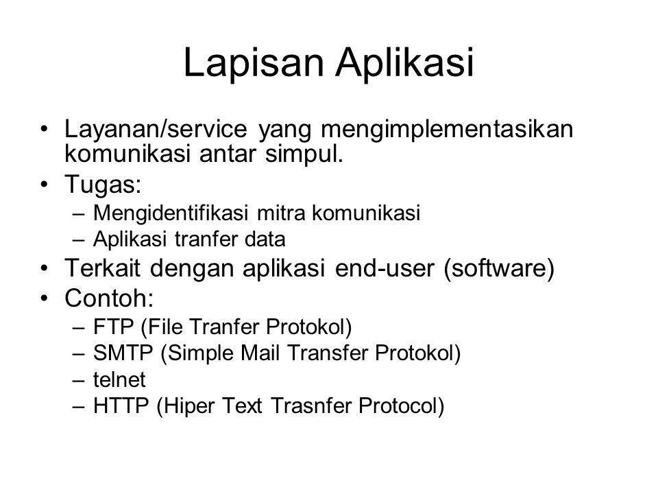 Lapisan Aplikasi Layanan/service yang mengimplementasikan komunikasi antar simpul. Tugas: –Mengidentifikasi mitra komunikasi –Aplikasi tranfer data Te