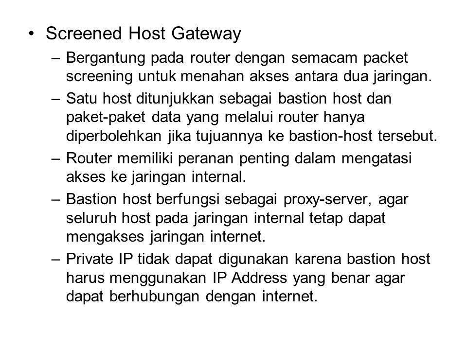 Screened Host Gateway –Bergantung pada router dengan semacam packet screening untuk menahan akses antara dua jaringan. –Satu host ditunjukkan sebagai