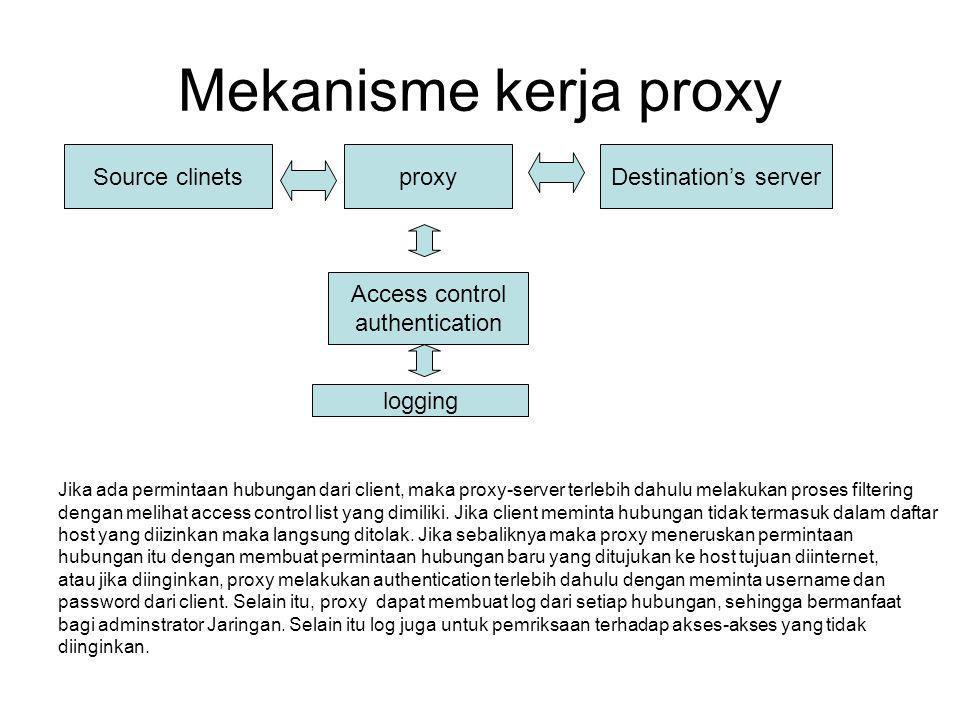 Mekanisme kerja proxy Source clinetsproxyDestination's server Access control authentication logging Jika ada permintaan hubungan dari client, maka pro