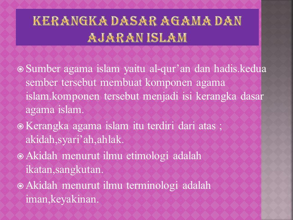  Sumber agama islam yaitu al-qur'an dan hadis.kedua sember tersebut membuat komponen agama islam.komponen tersebut menjadi isi kerangka dasar agama i