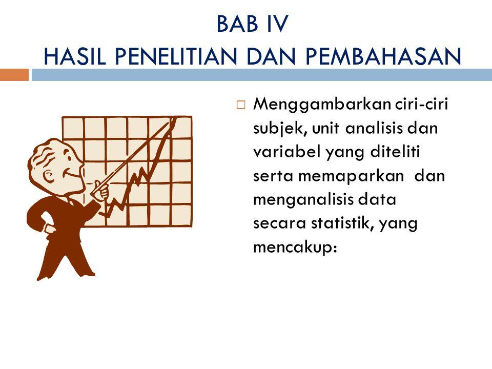 BAB IV HASIL PENELITIAN DAN PEMBAHASAN  Menggambarkan ciri-ciri subjek, unit analisis dan variabel yang diteliti serta memaparkan dan menganalisis da