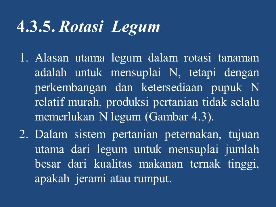4.3.5. Rotasi Legum 1.Alasan utama legum dalam rotasi tanaman adalah untuk mensuplai N, tetapi dengan perkembangan dan ketersediaan pupuk N relatif mu