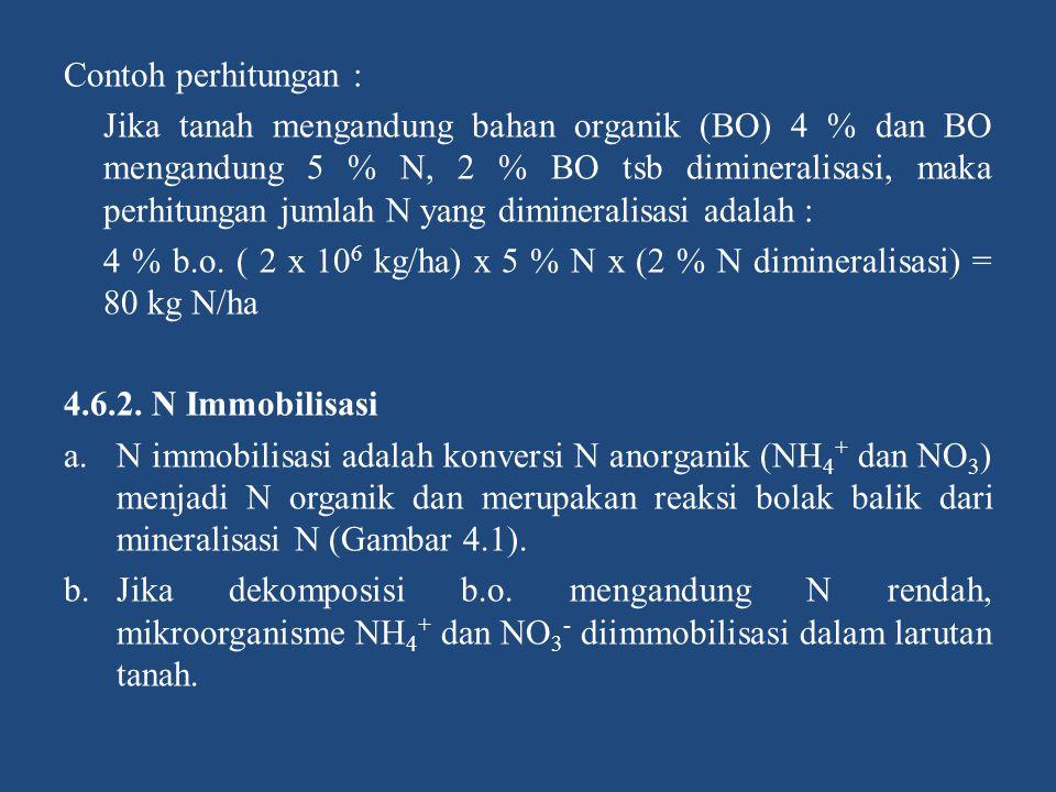 Contoh perhitungan : Jika tanah mengandung bahan organik (BO) 4 % dan BO mengandung 5 % N, 2 % BO tsb dimineralisasi, maka perhitungan jumlah N yang d