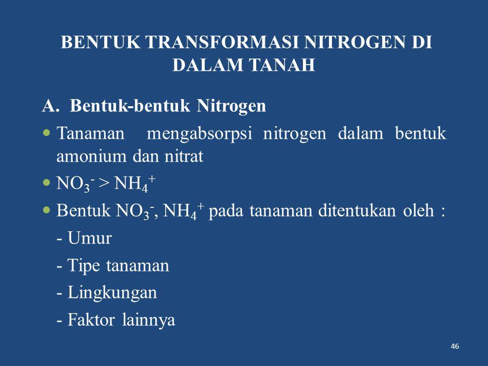 BENTUK TRANSFORMASI NITROGEN DI DALAM TANAH 46 A. Bentuk-bentuk Nitrogen Tanaman mengabsorpsi nitrogen dalam bentuk amonium dan nitrat NO 3 - > NH 4 +