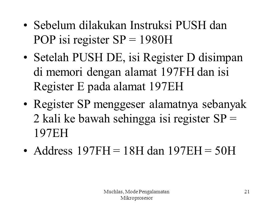 Sebelum dilakukan Instruksi PUSH dan POP isi register SP = 1980H Setelah PUSH DE, isi Register D disimpan di memori dengan alamat 197FH dan isi Regist