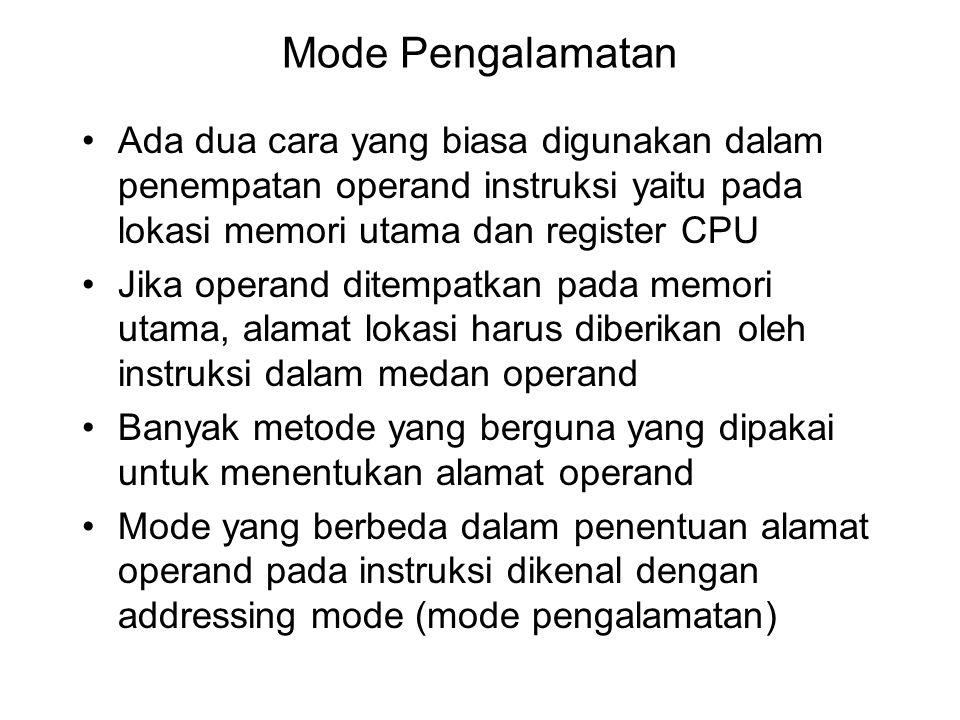 Contoh permasalahan Susunlah intruksi ke dalam bahasa assembly untuk memindahkan data A1B2 yang ada di register AX ke alamat fisik memori 20300 heksadesimal menggunakan mode pengalamatan register indirect, anggap segment yang digunakan adalah DS = 2000 dan alamat relatif yang menunjukkan alamat memory disimpan di register BX Jawab: DS : IP = 20300  alamat fisik DS = 20000  alamat awal DS IP = 0300 Intruksi yang digunakan MOV AX, 2000 MOV DS, AX MOV BX, 0300 MOV AX, A1B2 MOV [BX], AX MOV AX, 2000 MOV DS, AX MOV AX, A1B2 MOV [0300], AX DIRECT: