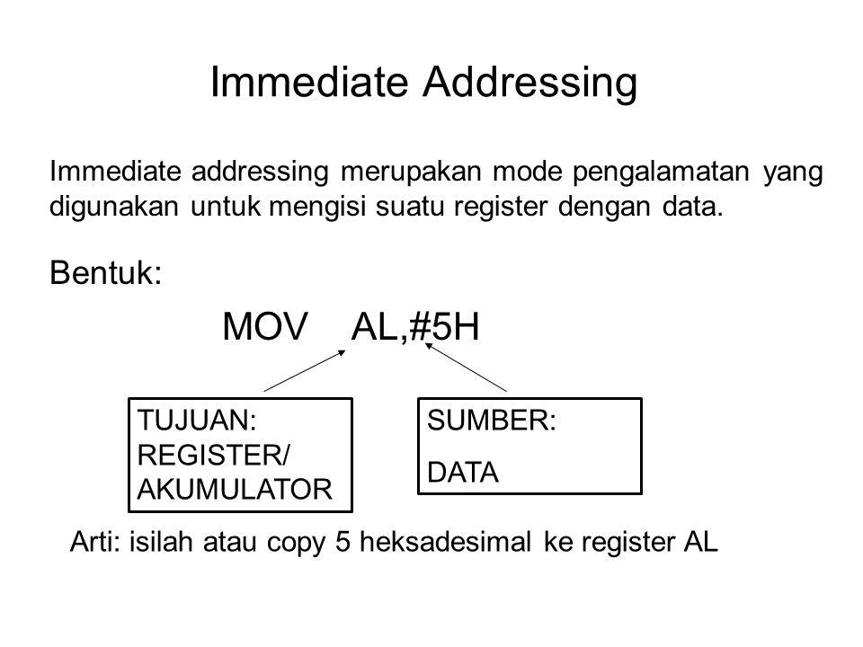 Immediate Addressing Bentuk: MOV AL,#5H SUMBER: DATA TUJUAN: REGISTER/ AKUMULATOR Immediate addressing merupakan mode pengalamatan yang digunakan untu
