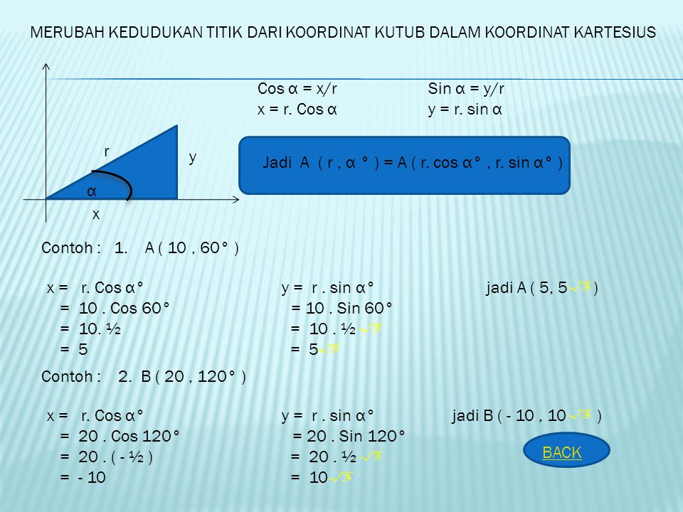 Rumus – rumus perbandingan trigonometri untuk sudut ( n. 360° + α ) Sin ( n. 360° + α ) = sin α cot ( n. 360° + α ) = cot α coos ( n. 360°+α ) = cos α