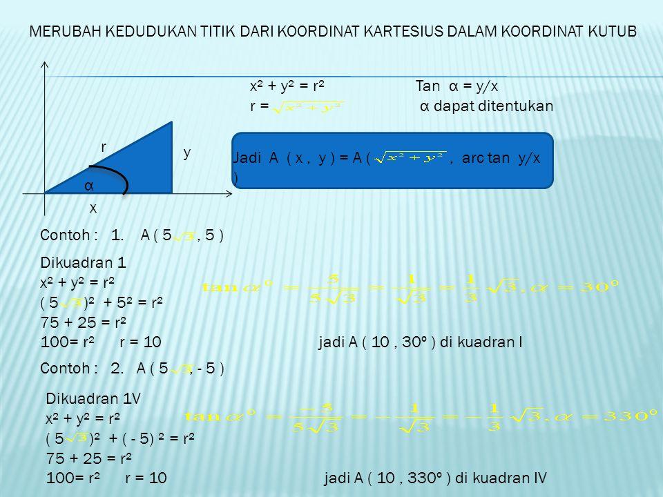 MERUBAH KEDUDUKAN TITIK DARI KOORDINAT KUTUB DALAM KOORDINAT KARTESIUS x y r α Cos α = x/r x = r. Cos α Sin α = y/r y = r. sin α Jadi A ( r, α ° ) = A