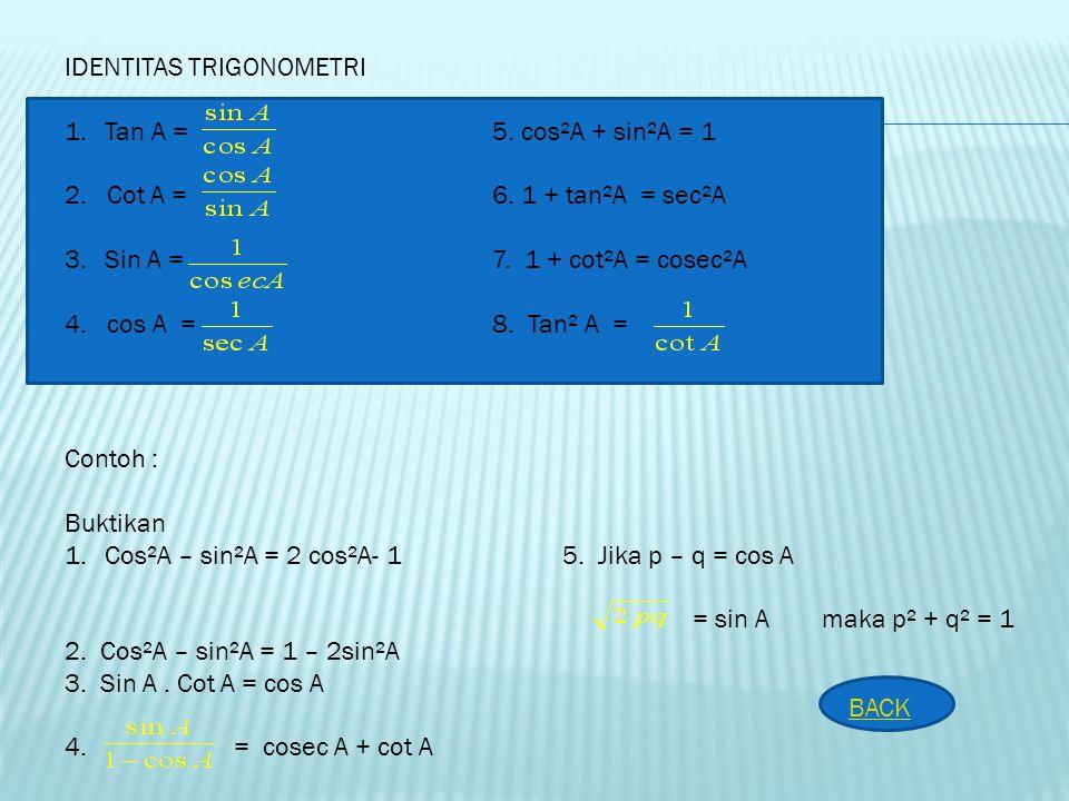 LATIHAN SOAL : 1. Nyatakan dalam koordinat kartesius a. A ( 10, 315° ) b. B ( 5, 225° ) 2. Nyatakan dalam koordinat kutub a. A ( - 1, -1 ) b. B ( - 8,