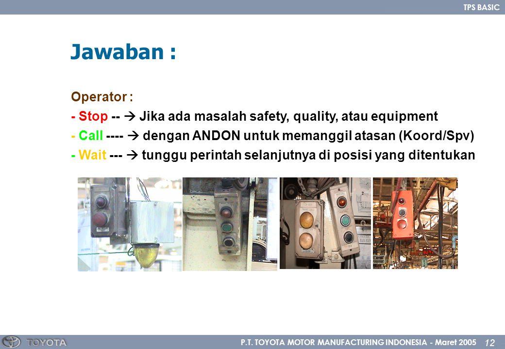 P.T. TOYOTA MOTOR MANUFACTURING INDONESIA - Maret 2005 12 TPS BASIC Operator : - Stop --  Jika ada masalah safety, quality, atau equipment - Call ---