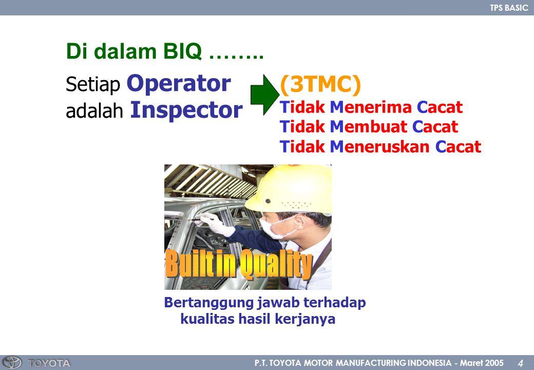 P.T. TOYOTA MOTOR MANUFACTURING INDONESIA - Maret 2005 4 TPS BASIC Setiap Operator adalah Inspector Bertanggung jawab terhadap kualitas hasil kerjanya
