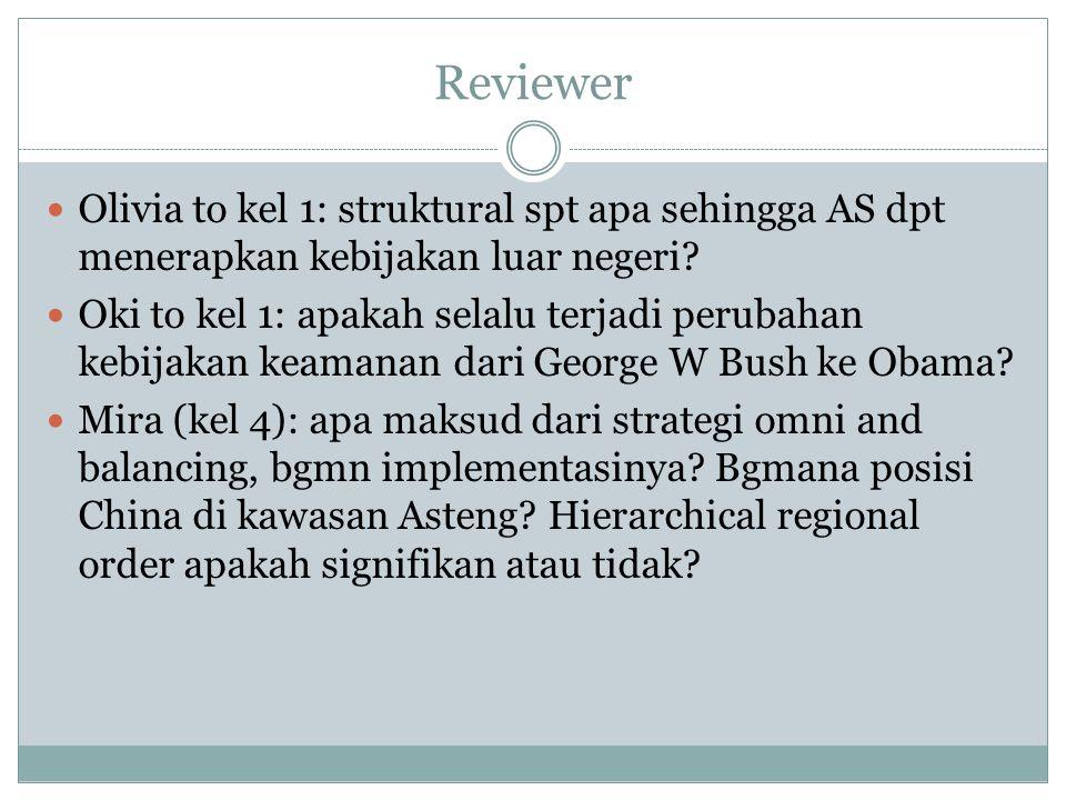 Reviewer Olivia to kel 1: struktural spt apa sehingga AS dpt menerapkan kebijakan luar negeri? Oki to kel 1: apakah selalu terjadi perubahan kebijakan