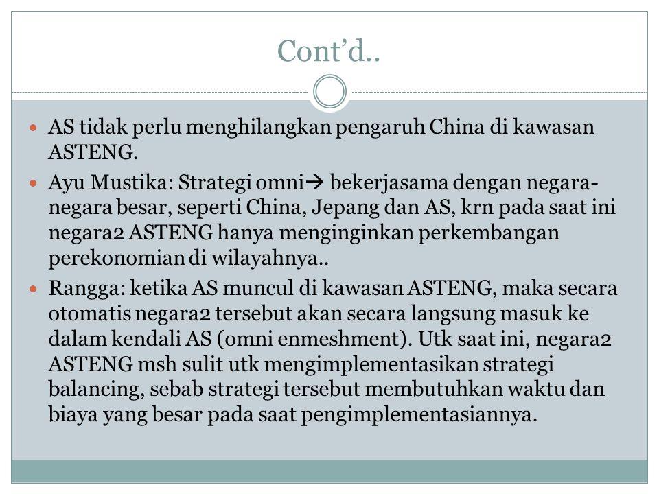 Cont'd.. AS tidak perlu menghilangkan pengaruh China di kawasan ASTENG. Ayu Mustika: Strategi omni  bekerjasama dengan negara- negara besar, seperti