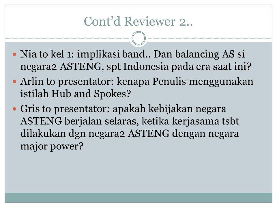 Cont'd Reviewer 2.. Nia to kel 1: implikasi band.. Dan balancing AS si negara2 ASTENG, spt Indonesia pada era saat ini? Arlin to presentator: kenapa P